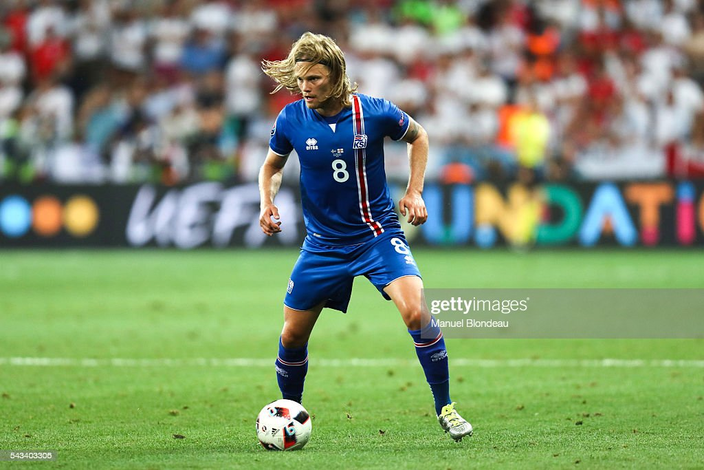 Birkir Bjarnason of Iceland during the European Championship match Round of 16 between England and Iceland at Allianz Riviera Stadium on June 27, 2016 in Nice, France.