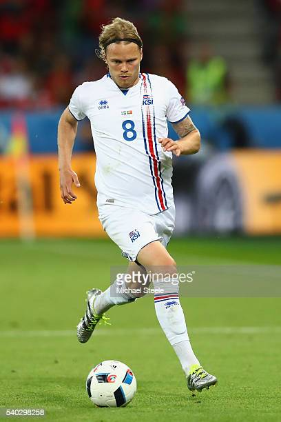 Birkir Bjarnason of Iceland during the UEFA EURO 2016 Group F match between Portugal and Iceland at Stade GeoffroyGuichard on June 14 2016 in...