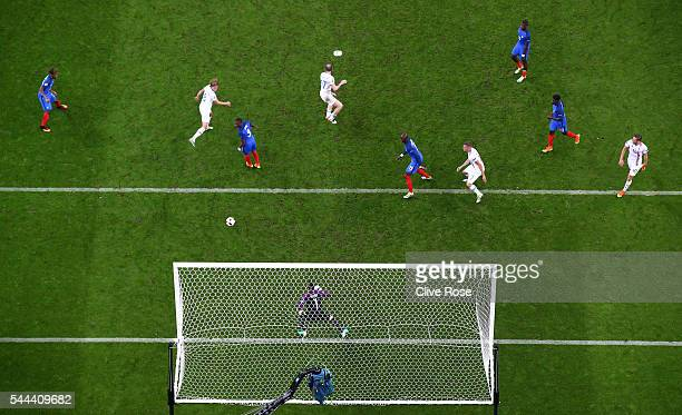 Birkir Bjarnason of Iceland heads the ball to score his team's second goal during the UEFA EURO 2016 quarter final match between France and Iceland...