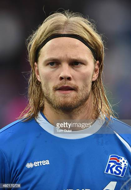 Birkir Bjarnason of Iceland looks on during the UEFA EURO 2016 Qualifier match between Iceland and Latvia at Laugardalsvollur National Stadium on...