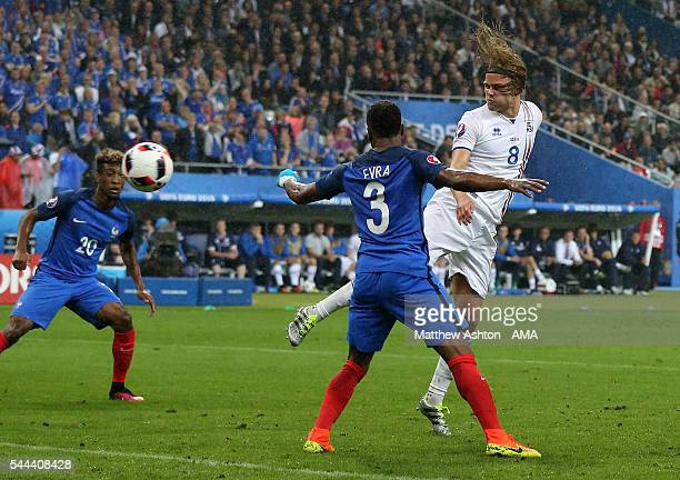 Birkir Bjarnason of Iceland scores a goal to make it 52 during the UEFA Euro 2016 quarter final match between France and Iceland at Stade de France...