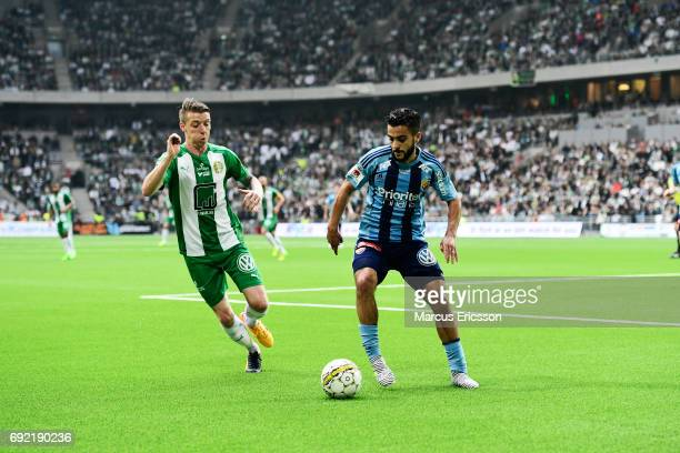 Birkir Mar Saevarsson of Hammarby IF and Othman El Kabir of Djurgardens IF during the Allsvenskan match between Hammarby IF and Djurgardens IF at...