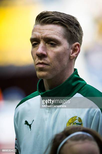Birkir Mar Saevarsson of Hammarby IF during an Allsvenskan match between AIK and Hammarby IF at Friends arena on April 17 2017 in Solna Sweden