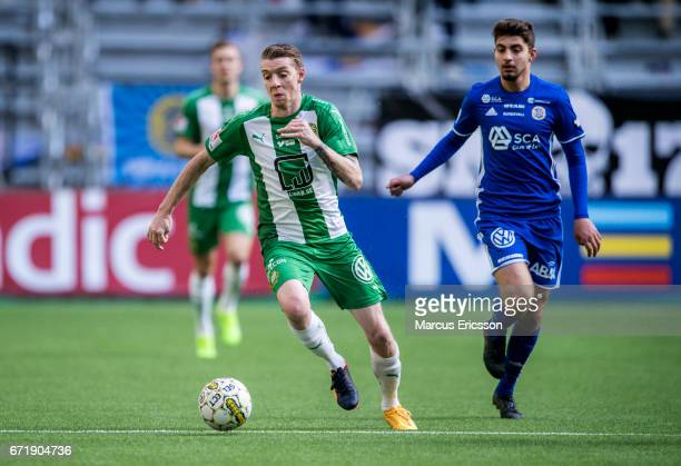 Birkir Mar Saevarsson of Hammarby IF during the Allsvenskan match between Hammarby IF and GIF Sundsvall at Tele2 Arena on April 23 2017 in Stockholm...
