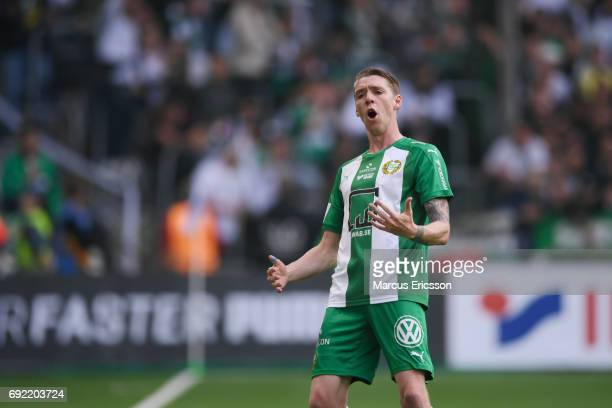 Birkir Mar Saevarsson of Hammarby IF frustrated during the Allsvenskan match between Hammarby IF and Djurgardens IF at Tele2 Arena on June 4 2017 in...