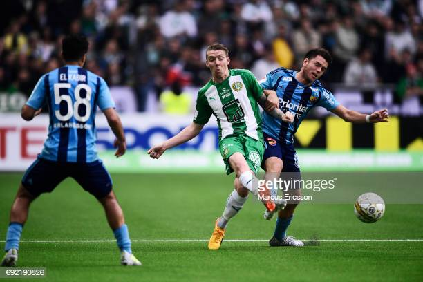 Birkir Mar Saevarsson of Hammarby IF shoots during the Allsvenskan match between Hammarby IF and Djurgardens IF at Tele2 Arena on June 4 2017 in...