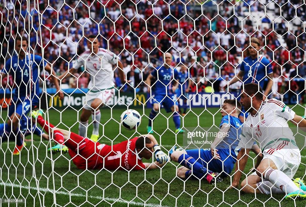 Birkir Mar Saevarsson of Iceland scores an own goal during the UEFA EURO 2016 Group F match between Iceland and Hungary at Stade Velodrome on June 18, 2016 in Marseille, France.