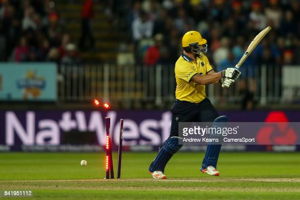 Birmingham Bears' Colin De Grandhomme is bowled by Notts Outlaws' Harry Gurney during the NatWest T20 Blast Final match between Birmingham Bears and...