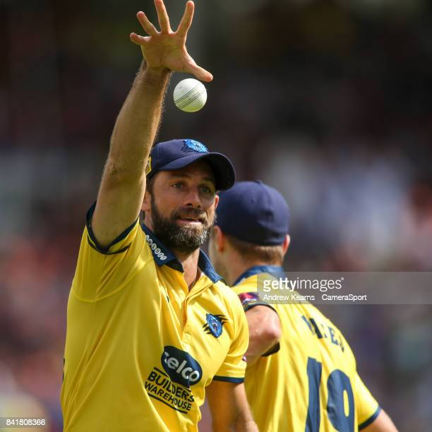 Birmingham Bears' Grant Elliott celebrates taking a catch to dismiss Glamorgan's Colin Ingram during the NatWest T20 Blast SemiFinal match between...