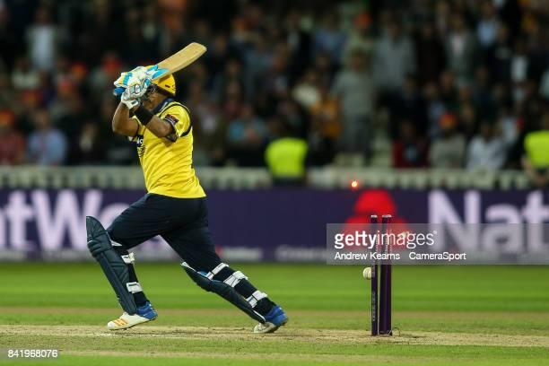 Birmingham Bears' Jeetan Patel is bowled by Notts Outlaws' Jake Ball during the NatWest T20 Blast Final match between Birmingham Bears and Notts...