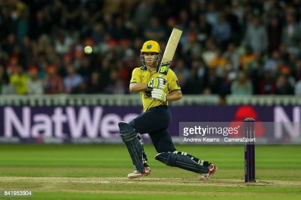 Birmingham Bears' Sam Hain plays a slow bouncer during the NatWest T20 Blast Final match between Birmingham Bears and Notts Outlaws at Edgbaston on...