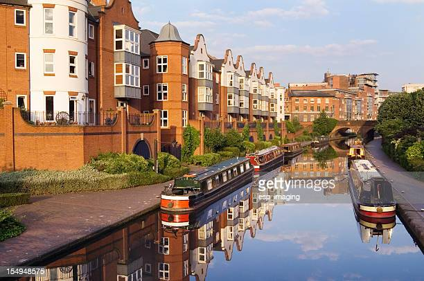 Birmingham Canal Main Line with Narrow Boats and Modern Apartments