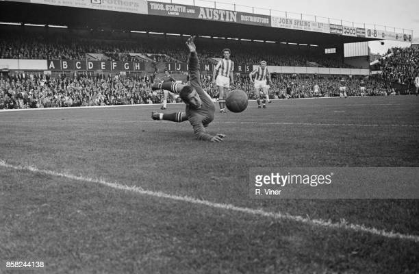 Scottish goalkeeper Lawrie Leslie of Stoke City FC goes full length to save St Andrew's Stadium Birmingham UK 29th August 1964
