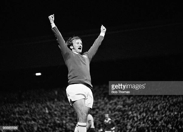 Birmingham City defender Kenny Burns celebrates after scoring against Ipswich Town during their First Divison league match at St Andrews in...