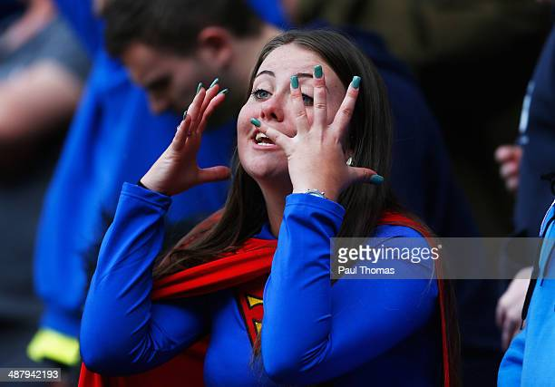 Birmingham City fan reacts during the Sky Bet Championship match between Bolton Wanderers and Birmingham City at Reebok Stadium on May 3 2014 in...