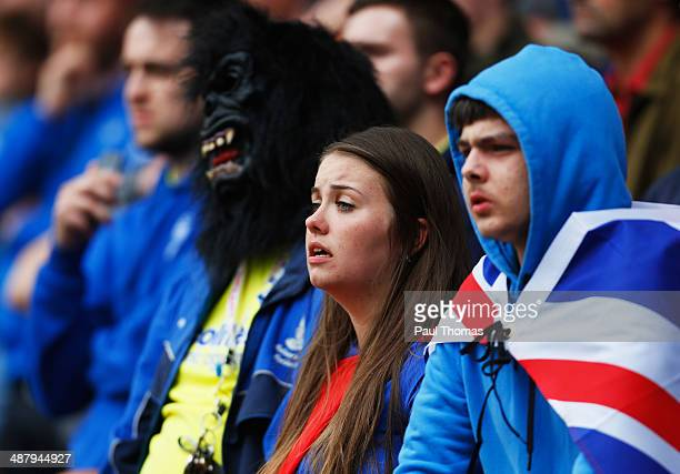 Birmingham City fans look pensive during the Sky Bet Championship match between Bolton Wanderers and Birmingham City at Reebok Stadium on May 3 2014...