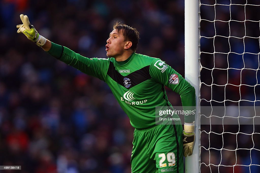 Birmingham City goalkeeper Tomasz Kuszczak instructs his team during the Sky Bet Championship match between Brighton and Hove Albion and Birmingham City on November 28, 2015 in Brighton, United Kingdom.
