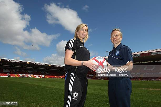 Birmingham City Ladies captain Laura Bassett and Chelsea Ladies captain Carly Telford ahead of their clash in the FA Women's Final at Ashton Gate on...