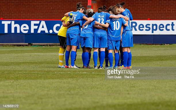 Birmingham City Ladies FC team prior to the Women's FA Cup Semi Final match between Birmingham City Ladies FC and Bristol Academy Women's FC at The...