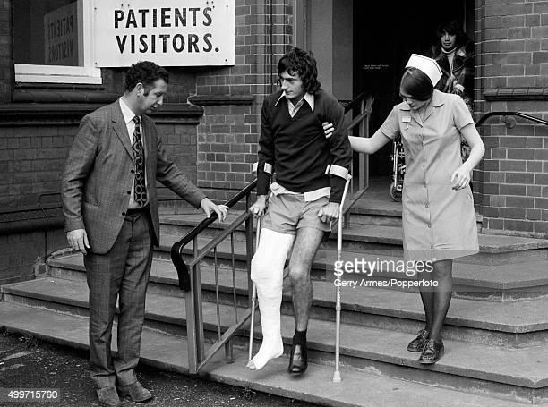 Birmingham City manager Freddie Goodwin looks on as Trevor Francis leaves hospital in Birmingham 5th November 1974