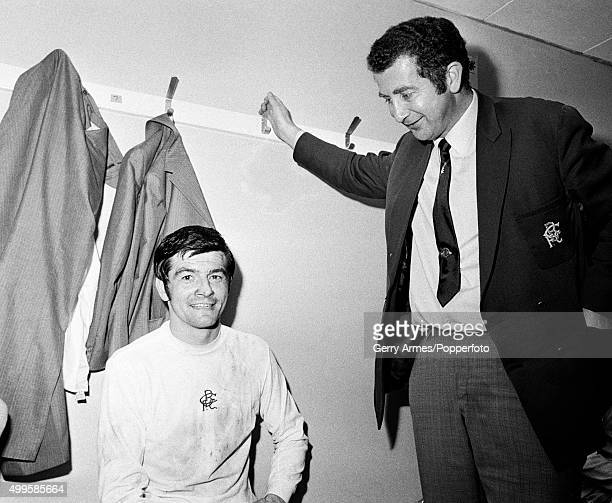 Birmingham City manager Freddie Goodwin with defender Stan Harland in the dressingroom after their 31 victory over Huddersfield Town in the FA Cup...