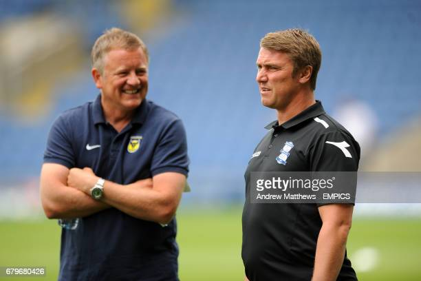 Birmingham City manager Lee Clark and Oxford United manager Chris Wilder before the match