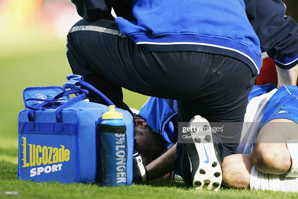 A Birmingham City player receives treatment during the FA Barclaycard Premiership match between Birmingham City and Middlesbrough held on April 26, 2003 at St Andrews, in Birmingham, England. Birmingham City won the match 3-0.