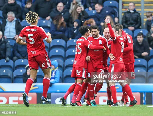 Birmingham City players celebrate with Lukas Jutkiewicz after he opened the scoring during the Sky Bet Championship match between Blackburn Rovers...
