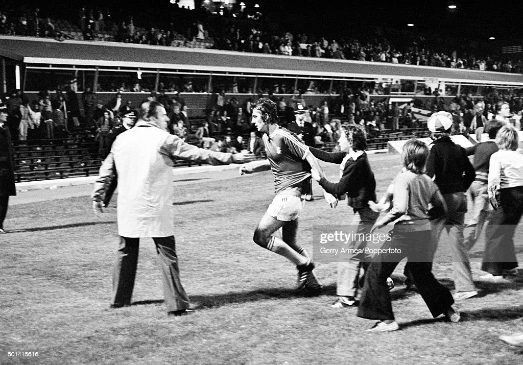 Birmingham City striker Trevor Francis is mobbed by young fans at the end of the match against Bristol City at St Andrews in Birmingham 30th August...