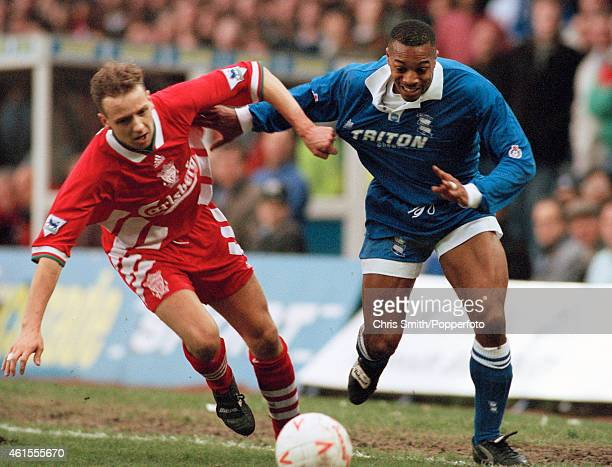 Birmingham City winger Louis Donowa goes past Liverpool defender Rob Jones during the FA Cup 3rd round match between Birmingham City and Liverpool at...