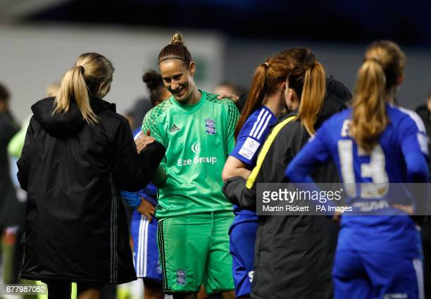 Birmingham City's AnnKatrin Berger reacts after the FA Women's Super League match at the Academy Stadium Manchester