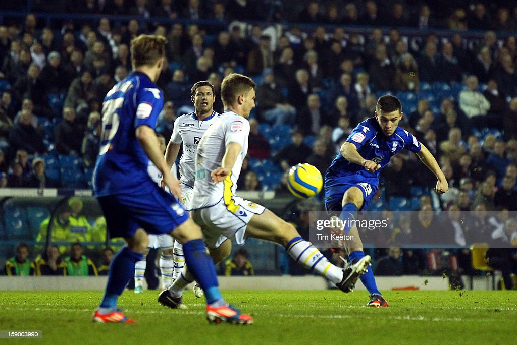 Birmingham City's Callum Reilly shoots just wide of the post during the FA Cup with Budweiser Third Round match between Leeds United and Birmingham City at Elland Road Stadium on January 5, 2013 Leeds, England.