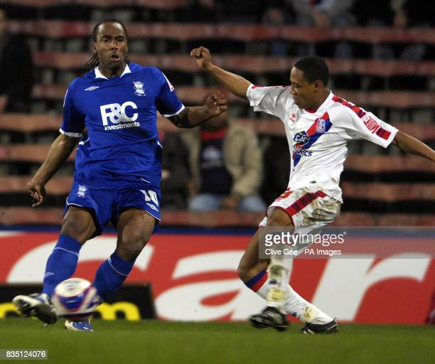 Birmingham City's Cameron Jerome and Crystal Palace's Nathanial Clyne during the CocaCola Championship match at Selhurst Park London