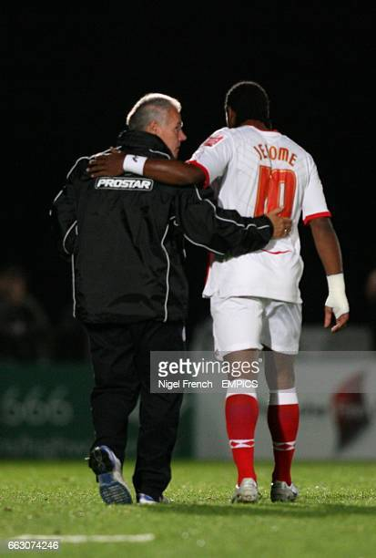 Birmingham City's Cameron Jerome Wycombe Wanderers Peter Taylor after the game
