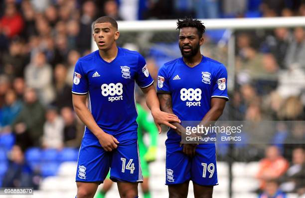 Birmingham City's Che Adams and Jacques Maghoma line up in a defensive wall