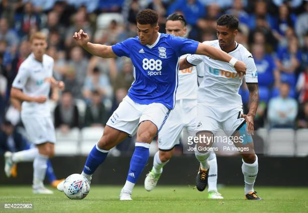 Birmingham City's Che Adams and Swansea City's Kyle Naughton during the preseason match at St Andrews Birmingham