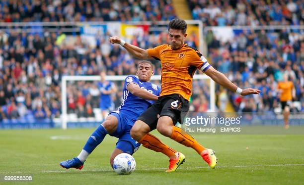 Birmingham City's Che Adams and Wolverhampton Wanderers Danny Batth battle for the ball