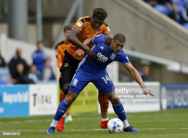 Birmingham City's Che Adams and Wolverhampton Wanderers' Kortney Hause