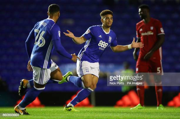 Birmingham City's Che Adams celebrates scoring his side's first goal of the game during the Sky Bet Championship match St Andrew's Birmingham