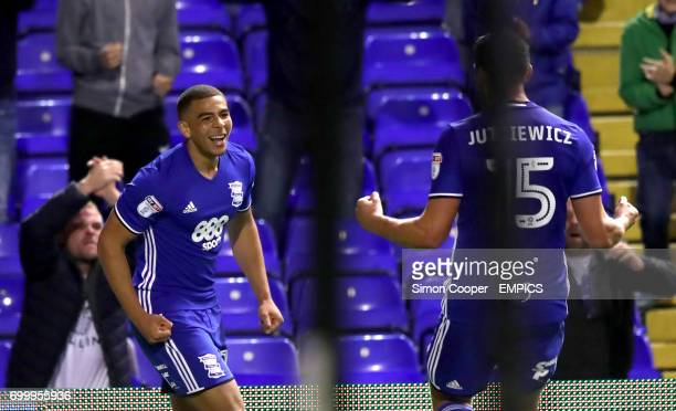 Birmingham City's Che Adams celebrates scoring his side's second goal of the game with teammate Lukas Jutkiewicz
