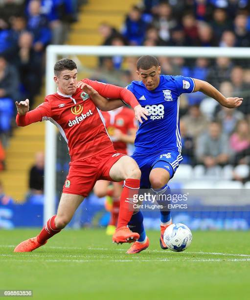 Birmingham City's Che Adams is tackled by Blackburn Rovers' Darragh Lenihan