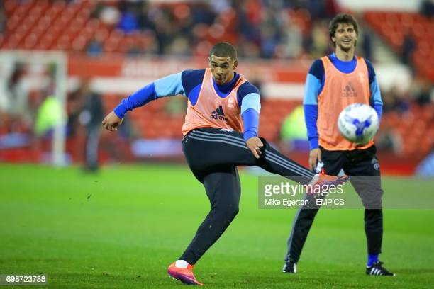 Birmingham City's Che Adams warming up prior to the match