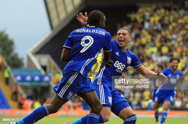 Birmingham City's Clayton Donaldson celebrates with teammate Che Adams after he scores his sides second goal from a penalty