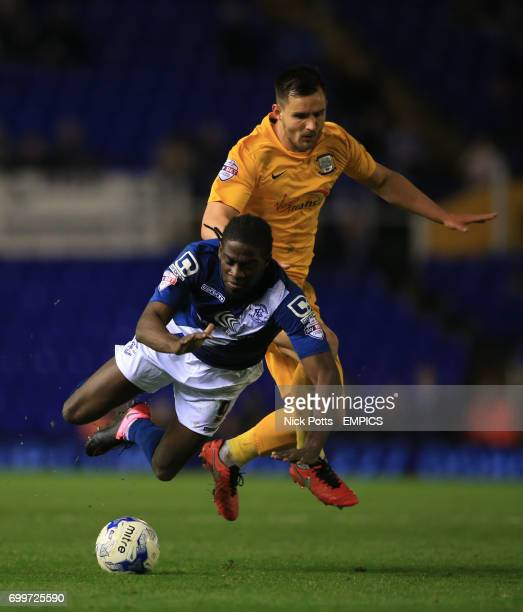 Birmingham City's Clayton Donaldson is fouled by Preston North End's Bailey Wright