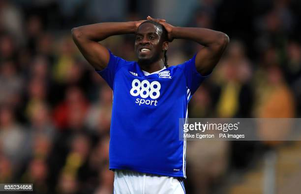 Birmingham City's Clayton Donaldson rues a missed chance during the Sky Bet Championship match at the Pirelli Stadium Burton