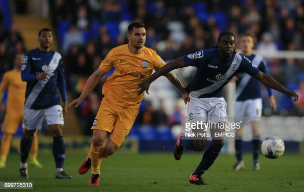 Birmingham City's Clayton Donaldson turns and runs runs at goal Preston North End's Bailey Wright