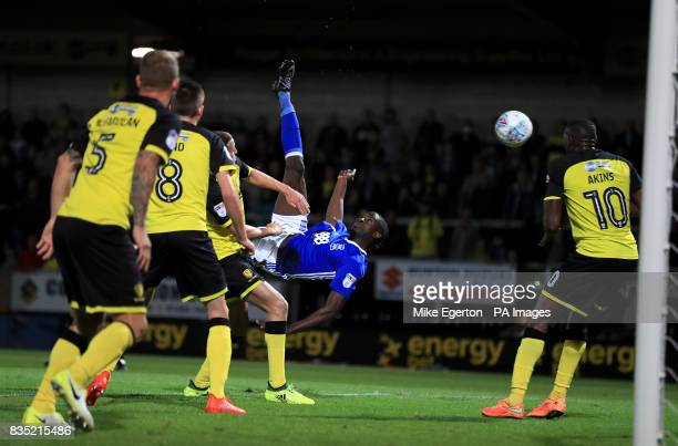Birmingham City's Clayton Donaldson with an overhead kick that hits the post during the Sky Bet Championship match at the Pirelli Stadium Burton