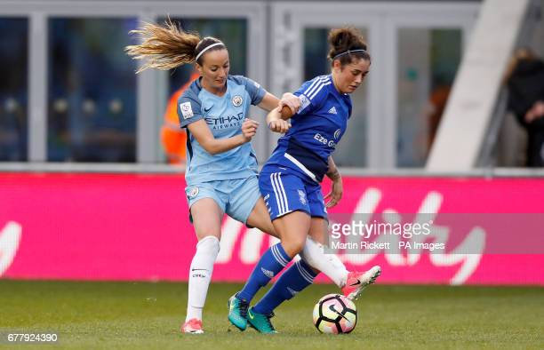 Birmingham City's Coral Haines and Manchester City's Kosovare Asllani battle for the ball during the FA Women's Super League match at the Academy...