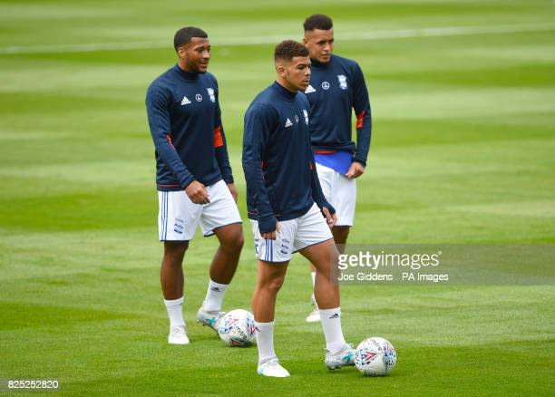 Birmingham City's David Davis Che Adams and Ravel Morrison