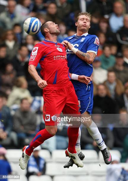 Birmingham City's Garry O'Connor and Queens Park Rangers's Damien Delaney battle for the ball